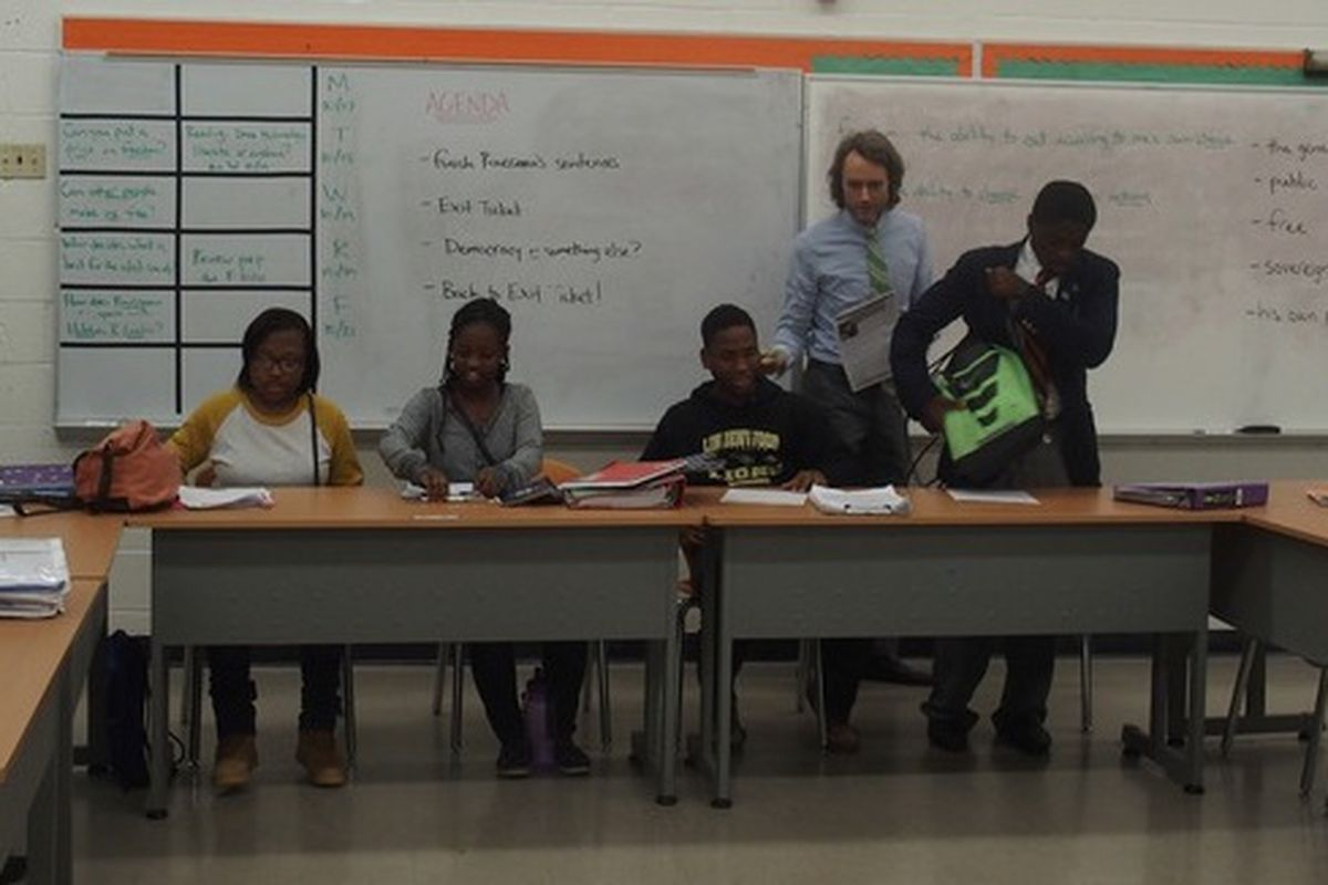 Kyle Grady begins his high school government class at Freedom Preparatory Academy, a charter school in Memphis.