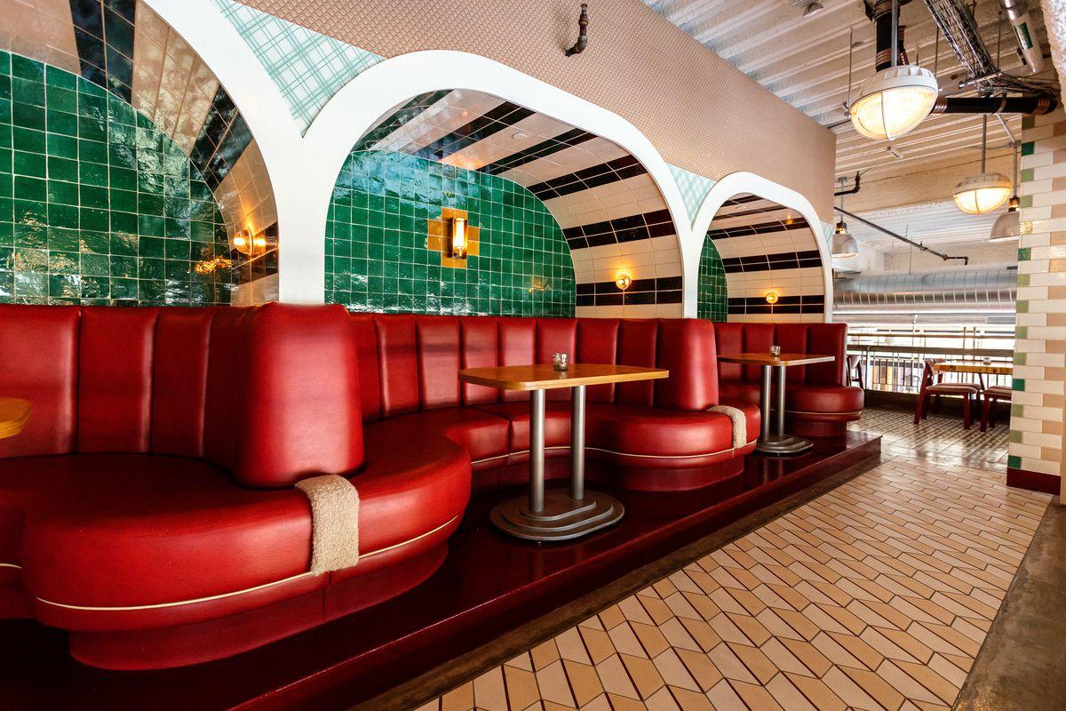 Three banquet booths on the mezzanine