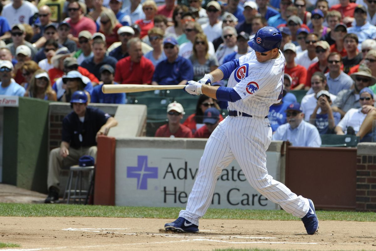 More Rizzo! Chicago, IL, USA; Chicago Cubs first baseman Anthony Rizzo hits a two -un homer against the St. Louis Cardinals at Wrigley Field. Credit: David Banks-US PRESSWIRE
