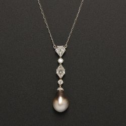 <strong>For March</strong>: Platinum, Gray Natural Pearl and Diamond Pendant Necklace; Estimate $20,000-$30,000; Image courtesy of Skinner