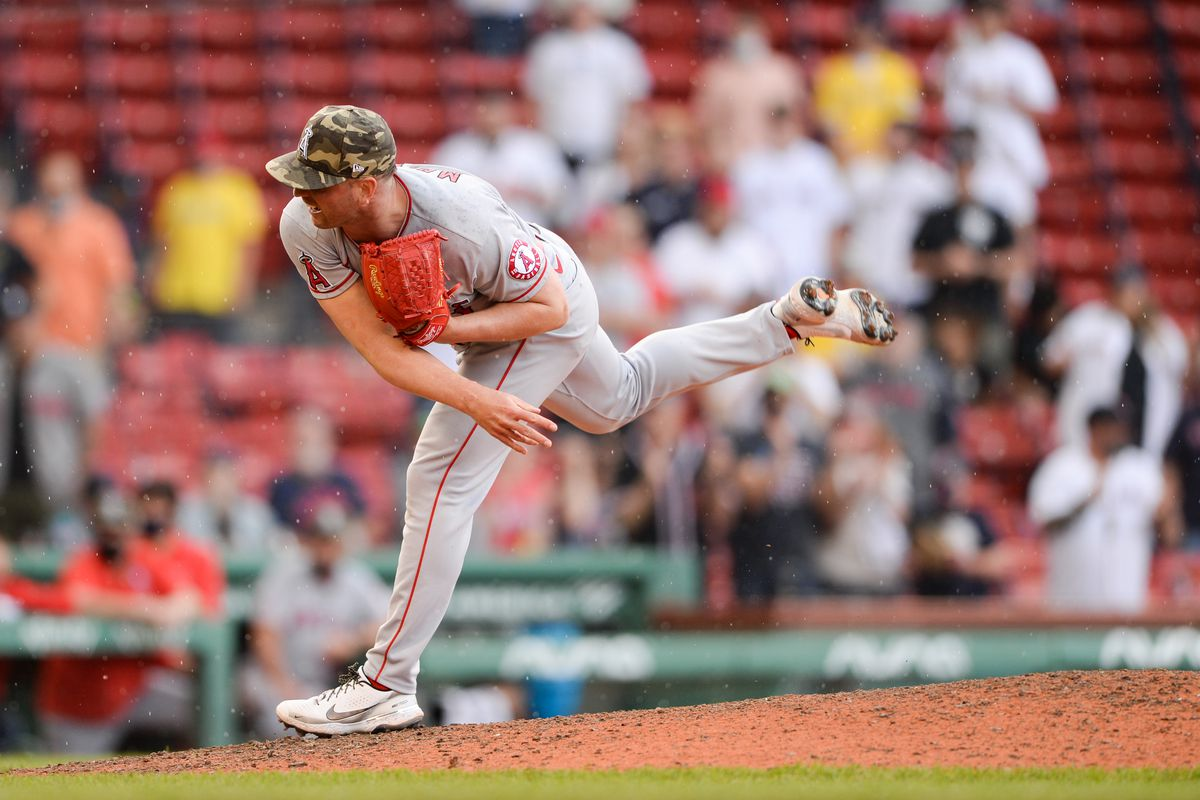 Mike Mayers #21 of the Los Angeles Angels pitches in the ninth inning against the Boston Red Sox at Fenway Park on May 16, 2021 in Boston, Massachusetts.