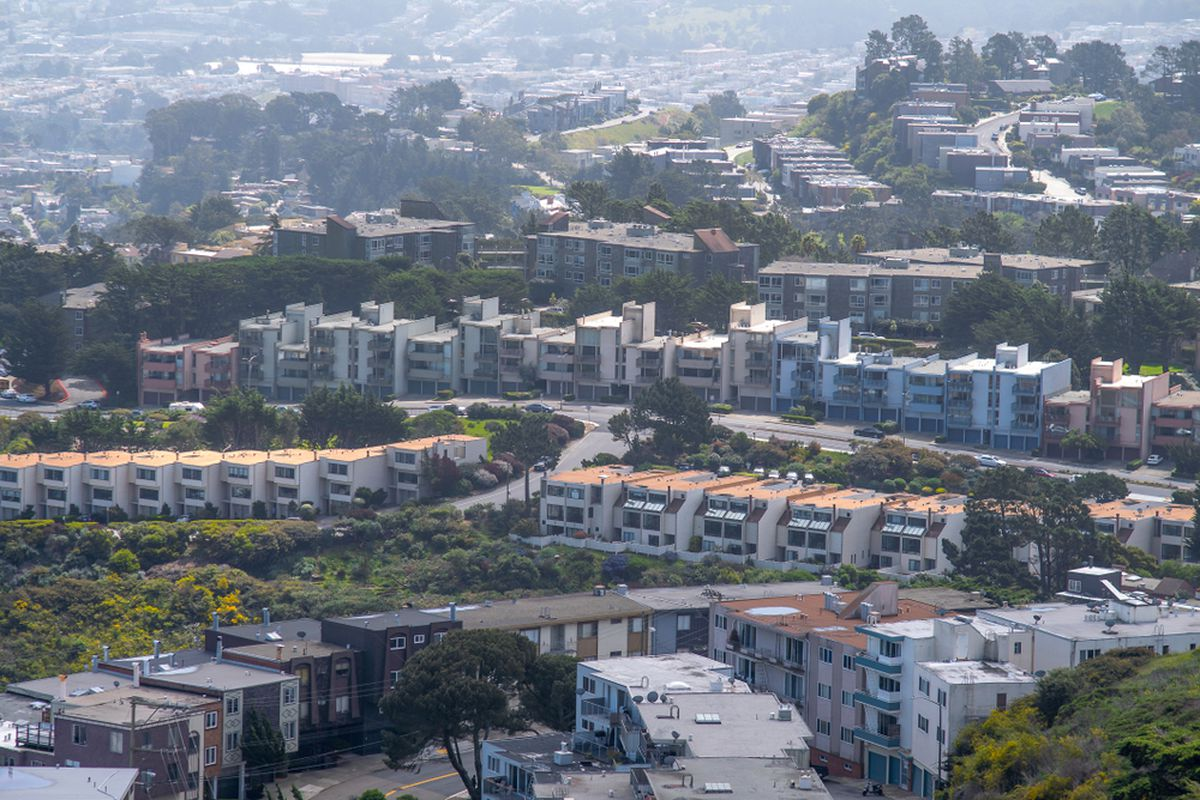 Rows of identical townhomes in the San Francisco hills.