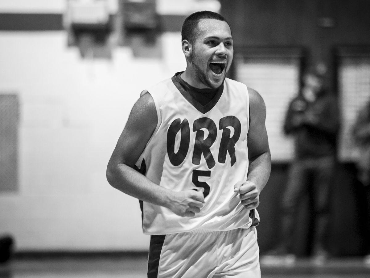 Orr Academy High School's Brian Hernandez gets fired up during an away game against Curie Metropolitan High School, Feb. 15, 2017.