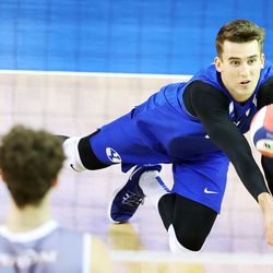 BYU's Zach Eschenberg digs out a low ball as BYU and Pepperdine play in the finals of the Mountain Pacific Sports Federation Championship, at the Smith Field House in Provo on Saturday, April 24, 2021. BYU won in straight sets.
