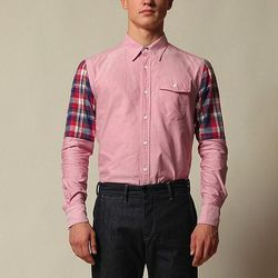 """Want your man to wear a traditional pink shirt out to dinner? BKc has an updated version with plaid half-sleeves. I love the elongated pocket. <a href=""""http://thebkcircus.com/shop/bkc-salmon_plaid-sleeve/"""">Salmon Button-Up</a>, $180 from The Brooklyn Circ"""