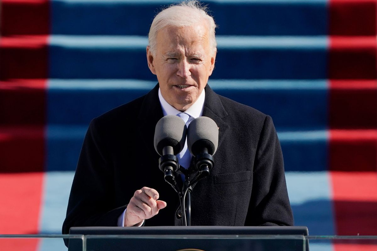 Joe Biden delivers a speech after being sworn in as the 46th president of the United States on Wednesday.
