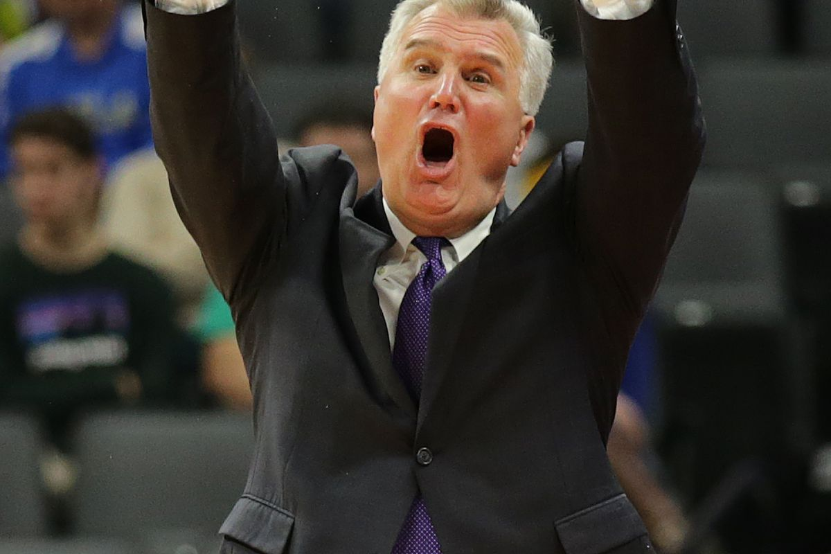 Mar 17, 2017; Sacramento, CA, USA; Kansas State Wildcats head coach Bruce Weber yells from the sidelines against the Cincinnati Bearcats in the first round of the 2017 NCAA Tournament at Golden 1 Center. Mandatory Credit: Kelley L Cox-USA TODAY Sports