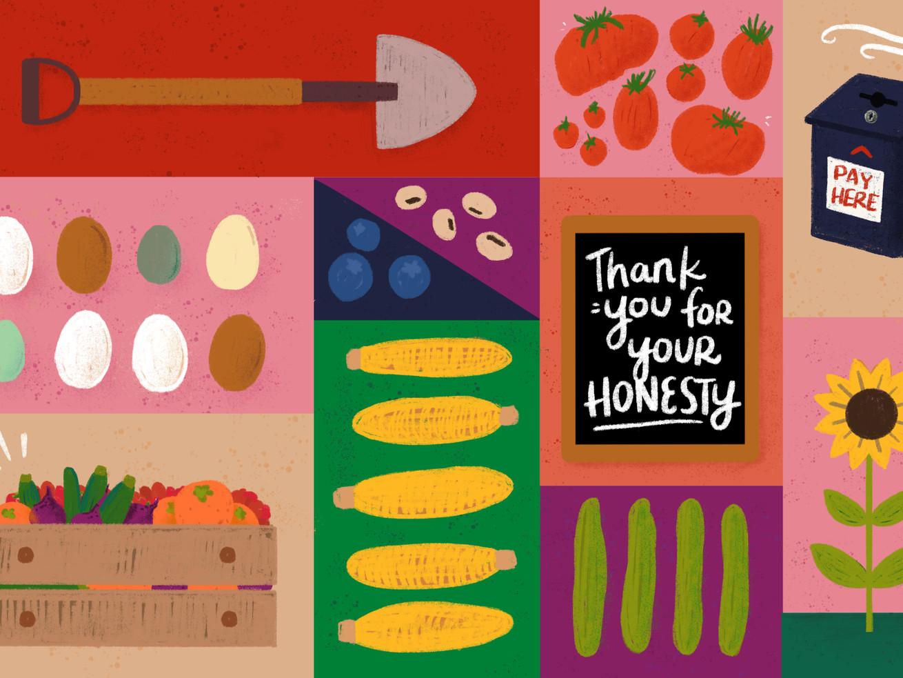 """Hình minh họa các bảng màu rực rỡ cho thấy một cái xẻng, cà chua, trứng nhiều màu, bắp ngô, dưa chuột, hoa hướng dương, một thùng đầy sản phẩm, quả việt quất, đậu, hộp đựng tiền có nội dung """"Thanh toán tại đây"""" và một bảng đen có nội dung"""