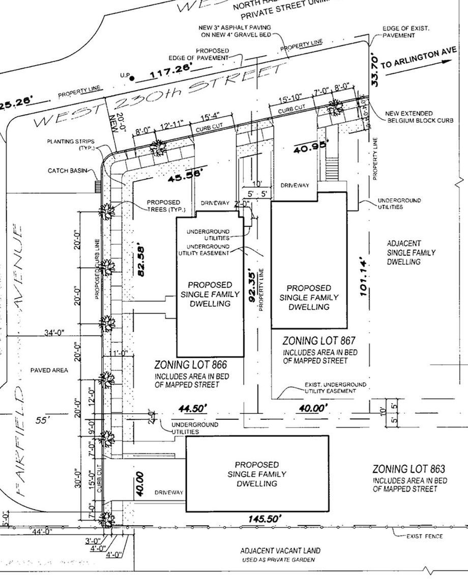 Plans filed with the city's Department of Buildings for a lot at West 230th Street and Fairfield Avenue in The Bronx.