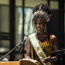 Abena Appiah, winner of Miss Grand International 2020, speaks during a news conference about Juneteenth.