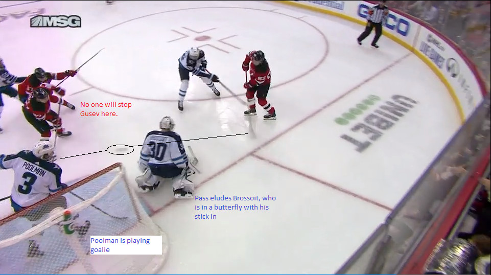 Part 12: Bratt passes the puck to Gusev in the slot.