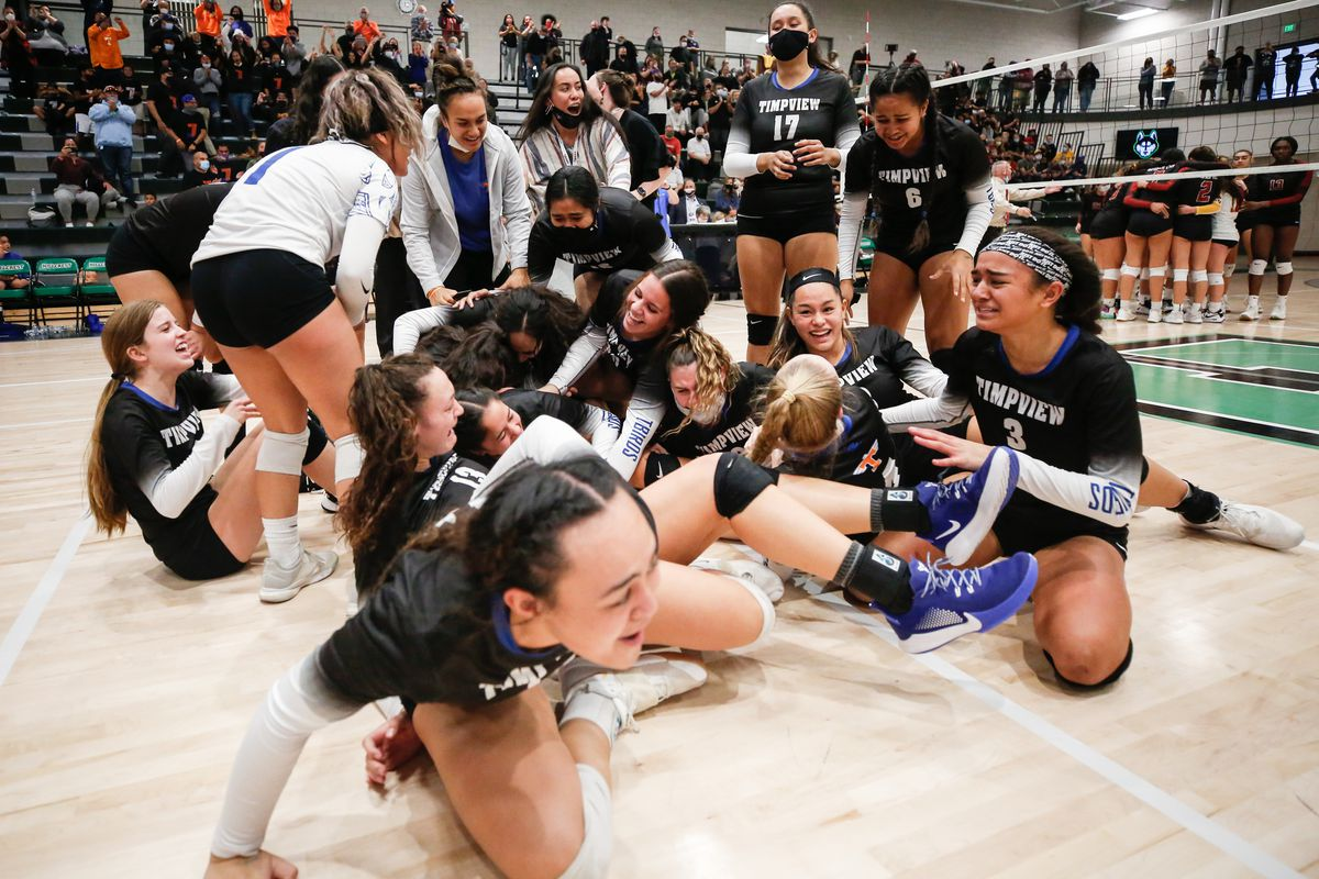 Timpview players celebrate after winning the UHSAA 5A volleyball state championship game against Mountain View at Hillcrest High School in Midvale on Saturday, Nov. 7, 2020.