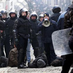 Croatian anti-riot police detain protesters after a clash in central Zagreb, Croatia, Saturday, Feb. 26, 2011. Some 15,000 anti-government protesters rallied in the Croatian capital and some clashed with police.