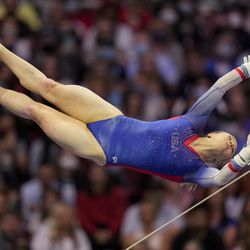Riley McCusker competes on the uneven bars during the women's U.S. Olympic Gymnastics Trials Sunday, June 27, 2021, in St. Louis.