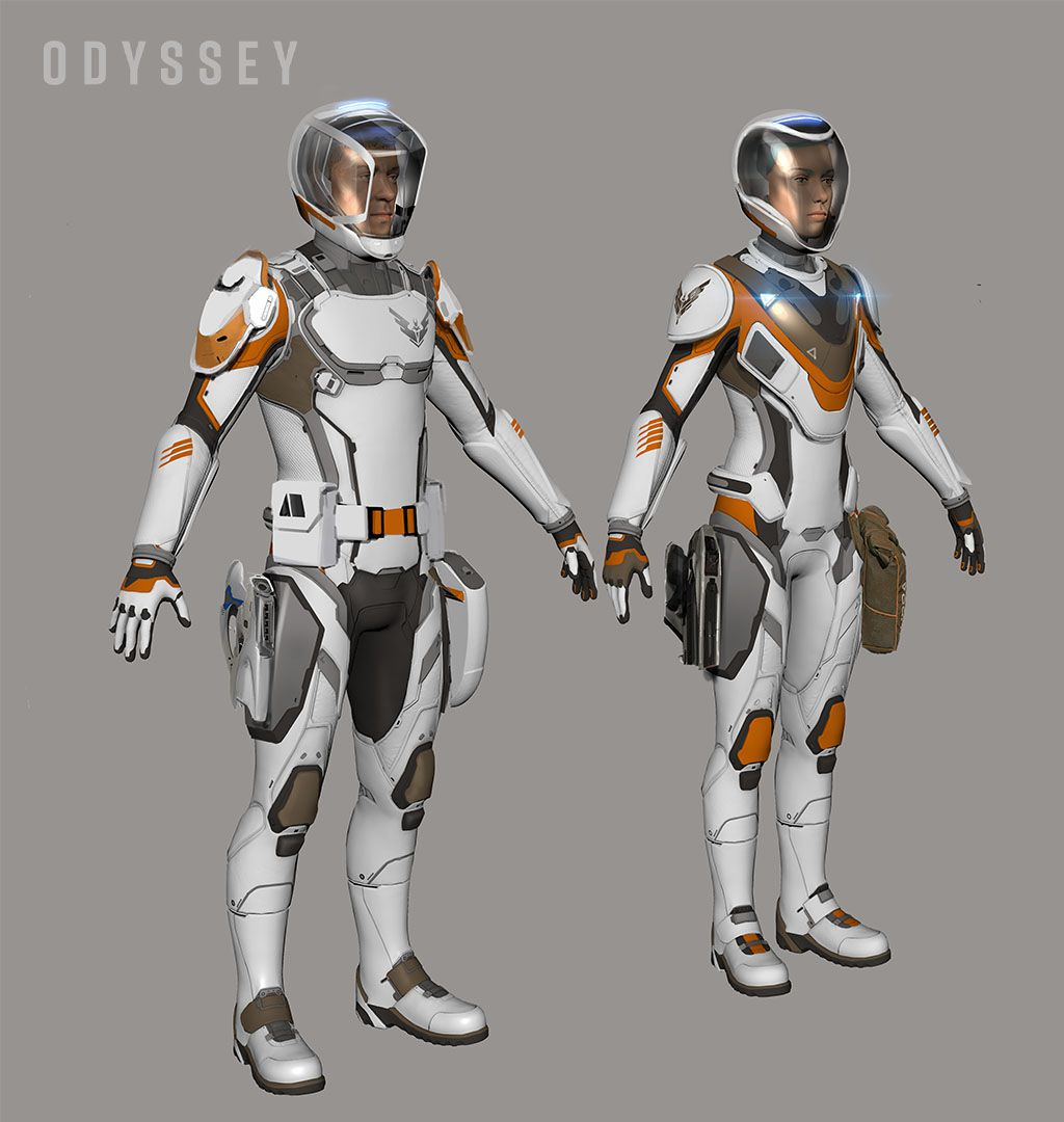 Spacesuits in Odyssey for male and female character models.