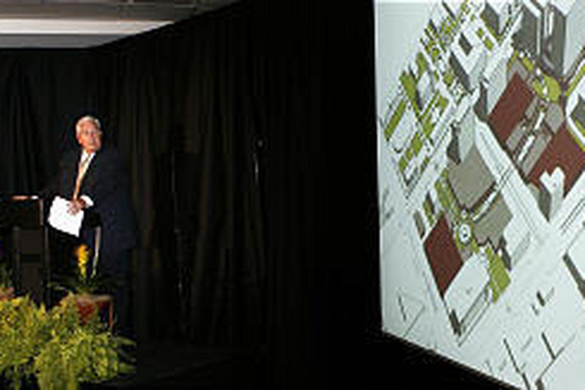 Presiding Bishop H. David Burton of the LDS Church briefs legislators Thursday about the City Creek Center project.