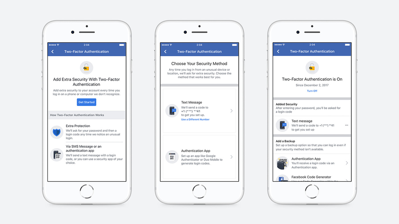 Facebook's new two-factor authentication process no longer requires