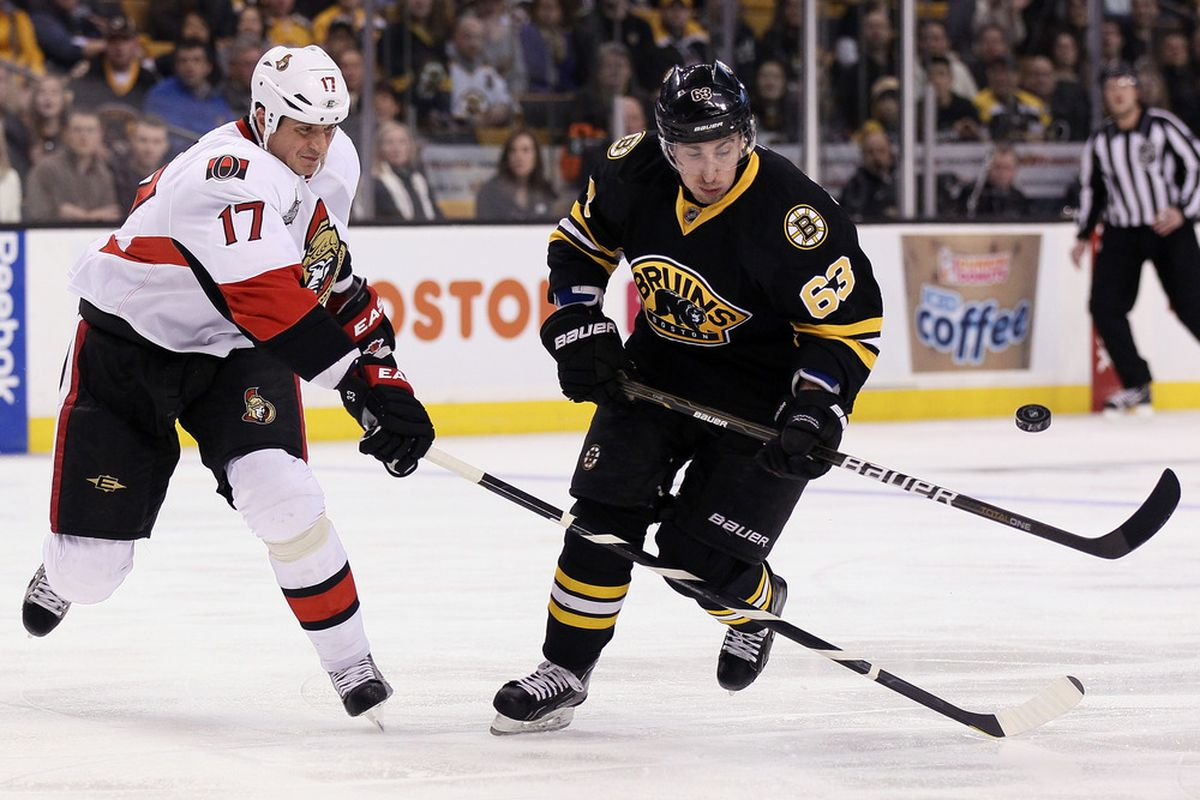 BOSTON, MA - JANUARY 31:  Brad Marchand #63 of the Boston Bruins tries to keep the puck from Filip Kuba #17 of the Ottawa Senators on January 31, 2012 at TD Garden in Boston, Massachusetts.  (Photo by Elsa/Getty Images)
