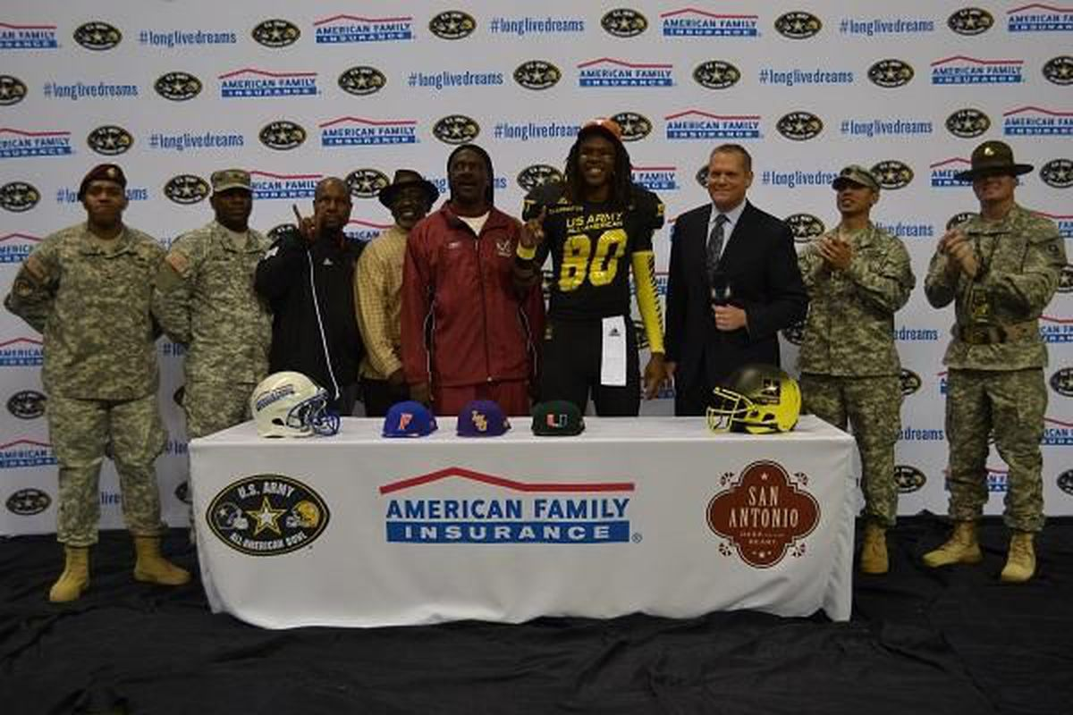 Devonaire Clarington committing to Texas at the US Army All-American game