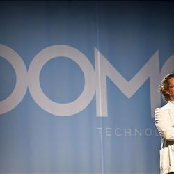 Josh James, founder of Omniture, unveils his newest business information venture, Domo, at the launch event at the Grand America Hotel on Wednesday.