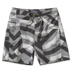"""<strong>Patagonia</strong> Men's Wavefarer Board Shorts in Feather Grey Razzle Flag, <a href=""""http://www.patagonia.com/us/product/mens-minimalist-wavefarer-board-shorts-19-inch?p=86768-0"""">$59</a>"""