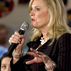 """FILE - In this March 19, 2012 file photo, Ann Romney, wife of Republican presidential candidate, former Massachusetts Gov. Mitt Romney speaks in Springfield, Ill. Ann Romney is firing back at a Democratic consultant who is suggesting that the wife of wealthy presidential candidate Mitt shouldn?t be talking about the economy?s toll on women. """"Guess what, his wife has actually never worked a day in her life,"""" said consultant Hilary Rosen on CNN. The remark inspired Ann Romney?s debut on Twitter.  (AP Photo/Steven Senne, File)"""