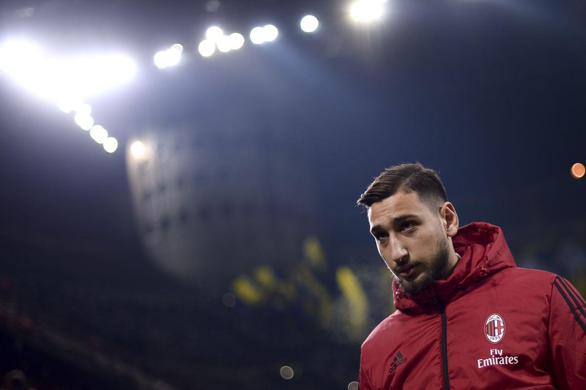 Gianluigi Donnarumma of AC Milan looks on prior to the TIM...