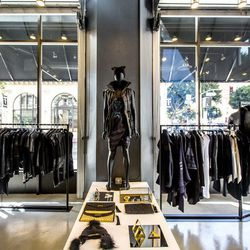 """<a href=""""http://la.racked.com/archives/2014/11/14/a_closer_look_at_skingrafts_new_polished_dtla_store.php""""><b>Skingraft</b></a>'s moody dwelling."""