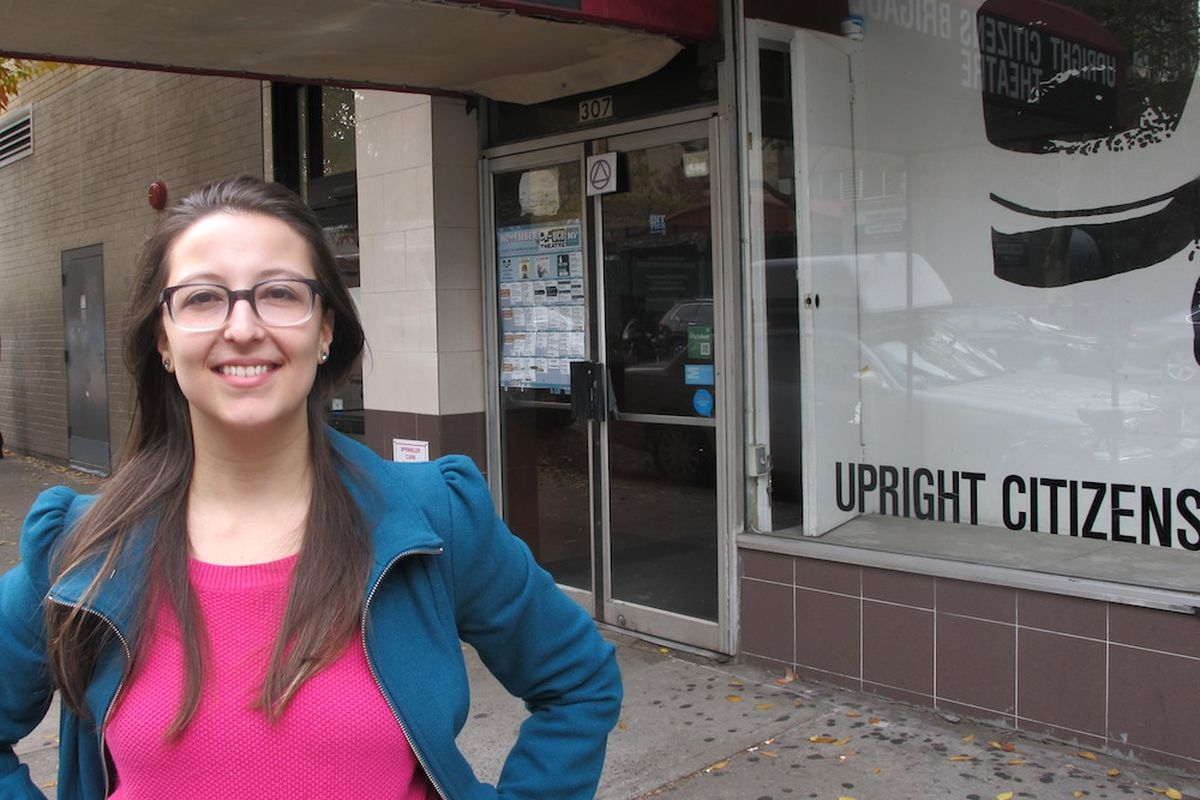 Natasha Vaynblat, outside the Upright Citizens Bridgade Theater in Chelsea, where her one-woman comedy show about her four-year teaching career begins Friday.