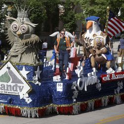 The city of Sandy's float makes its way along the Days of '47 Parade route in Salt Lake City on Friday, July 23, 2021. The won the Mayor's Award, which is given to the city float that best inspires progress, growth and/or diversity.