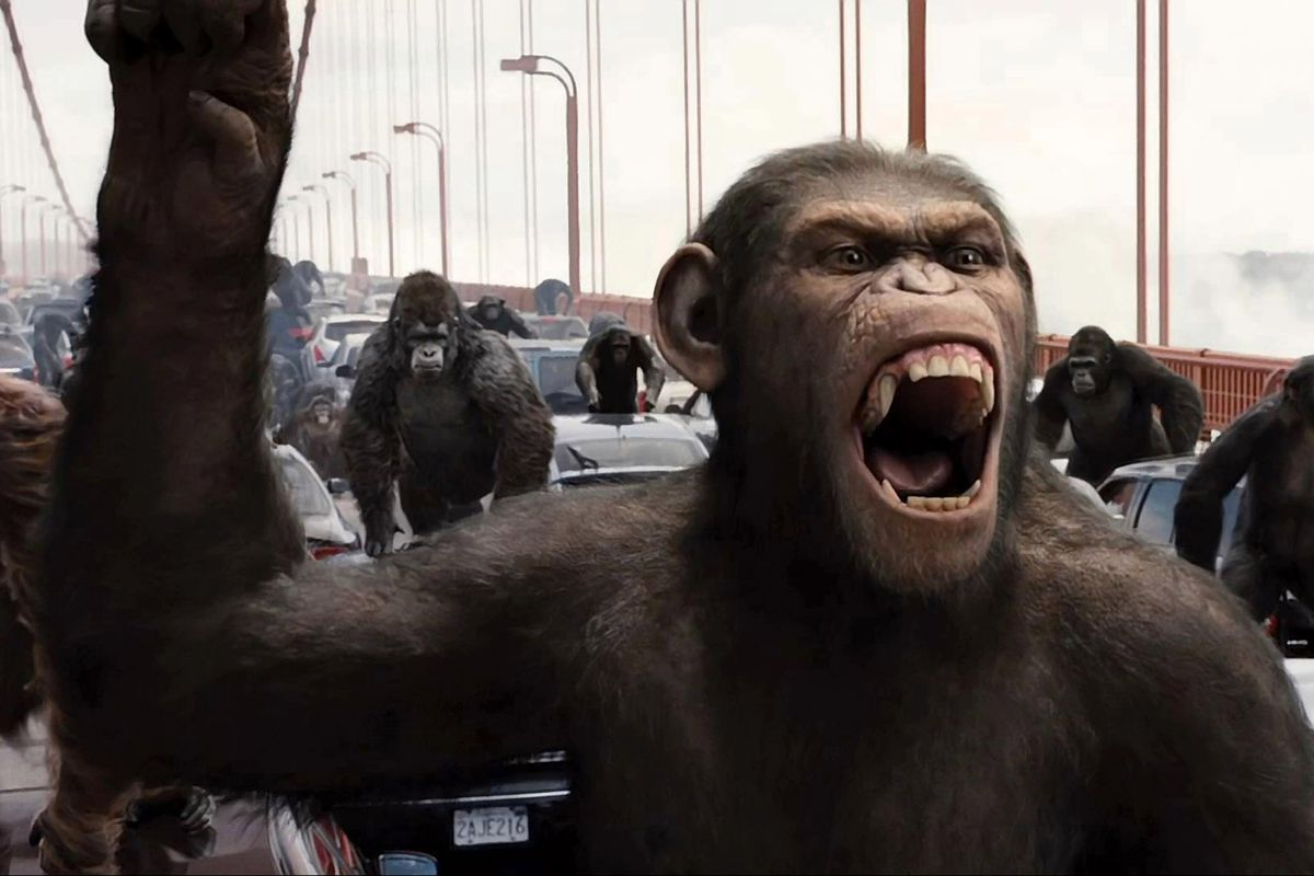 A CGI ape revolt in 2011's Rise of the Planet of the Apes