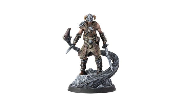 The classic Dragonborn figure, in resin and fully painted, as scene in The Elder Scrolls: Call to Arms miniatures game.
