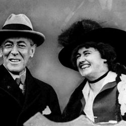 U.S. President Woodrow Wilson and his wife, first lady Edith Bolling Wilson, smile in this undated photo.