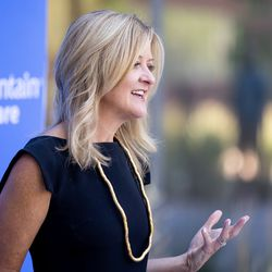 Mikelle Moore, Senior Vice President and Head of Community Health at Intermountain Healthcare, speaks at the Intermountain Healthcare Transformation Center in Murray on Friday, July 2, 2021.
