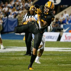 Arizona State tight end Curtis Hodges (86) receives a pass during an NCAA college football game against BYU at LaVell Edwards Stadium in Provo on Saturday, Sept. 18, 2021.