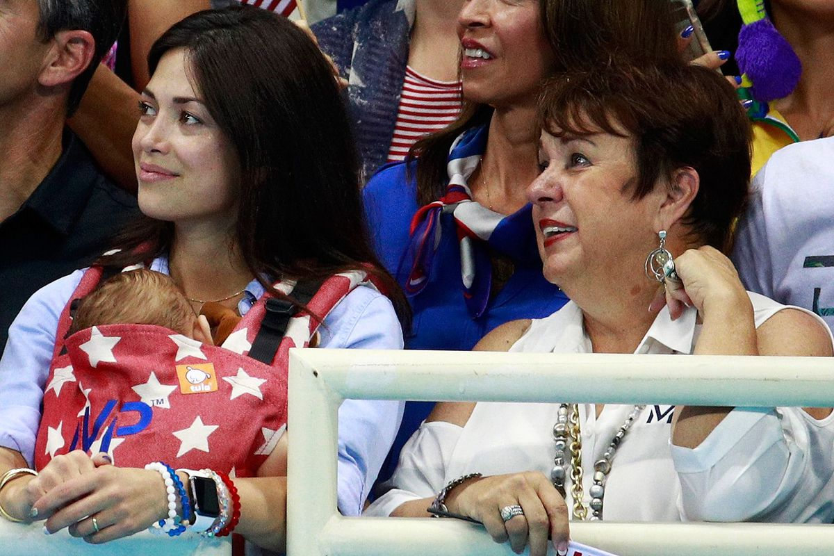 Debbie Phelps, right, Nicole Johnson, and son Boomer (GettyImages)