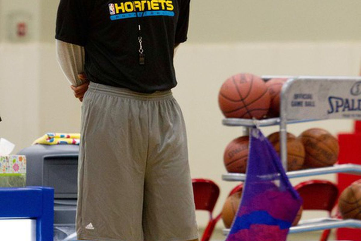 June 4, 2012; Westwego, LA, USA; New Orleans Hornets head coach Monty Willaims watches prospects during a pre-draft workout at the Alario Center.  Mandatory Credit: Derick E. Hingle-US PRESSWIRE
