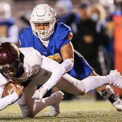 Maple Mountain and Orem compete in a high school 5A state semifinal football game at Cedar Valley High School in Eagle Mountain on Friday, Nov. 13, 2020.