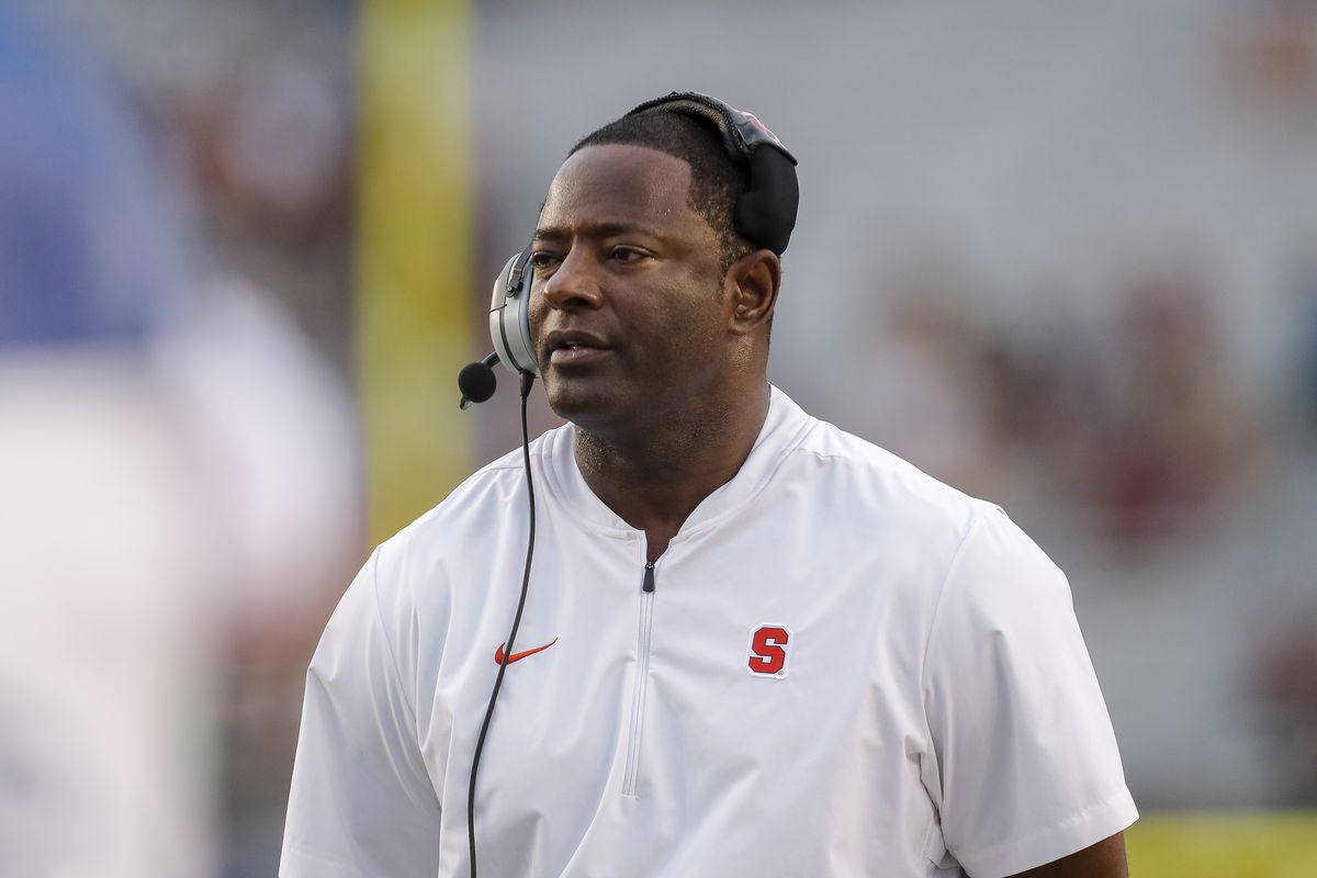 Head Coach Dino Babers of the Syracuse Orange during the game against the Florida State Seminoles at Doak Campbell Stadium on Bobby Bowden Field on October 26, 2019 in Tallahassee, Florida. The Seminoles defeated the Orange 35 to 17.