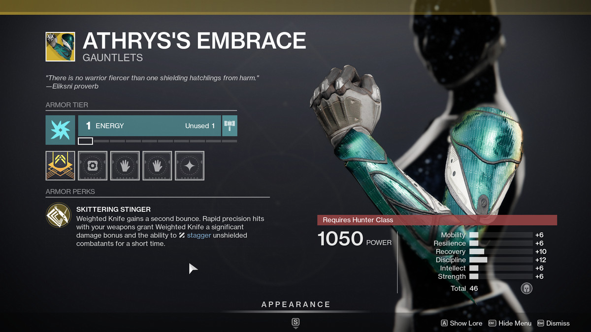 The Athyrs's Embrace Exotic armor from Destiny 2