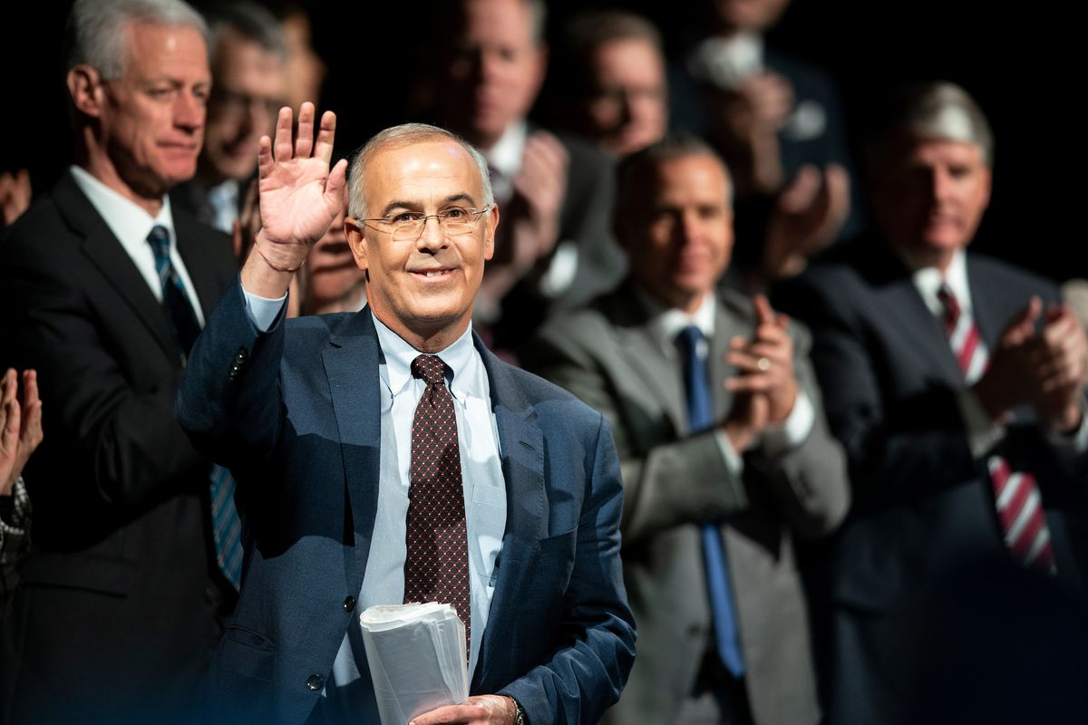 New York Times columnist David Brooks waves to the audience during an address on Tuesday, Oct. 22, 2019, at BYU's Marriott Center in Provo, Utah.