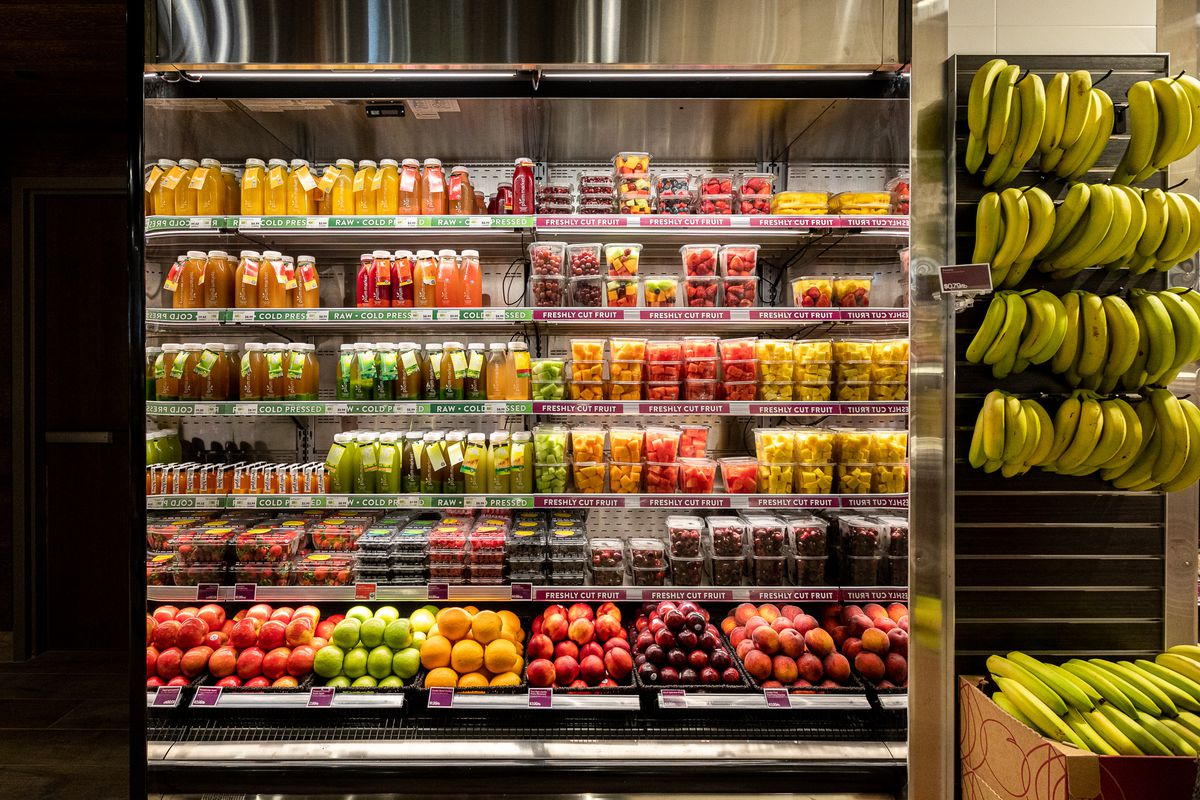 cold-pressed juice on the shelf at plum market