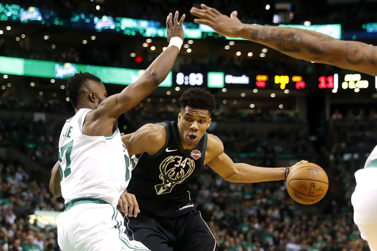Boston Celtics Rookie Forward Defends Milwauke Bucks Superstar Giannis Antetokounmpo In Game  Of Their First Round Eastern Conference Playoff Series