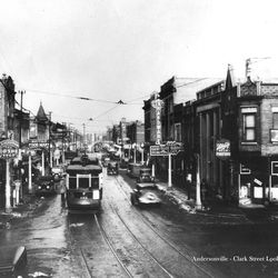 Clark Street in Andersonville, 1930's.   Provided by Andersonville Chamber of Commerce.