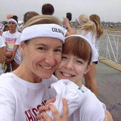 Amy Donaldson and her daughter, Daphne Brass, prepare to run The Color Run 5K in Irvine, Calif., last month.