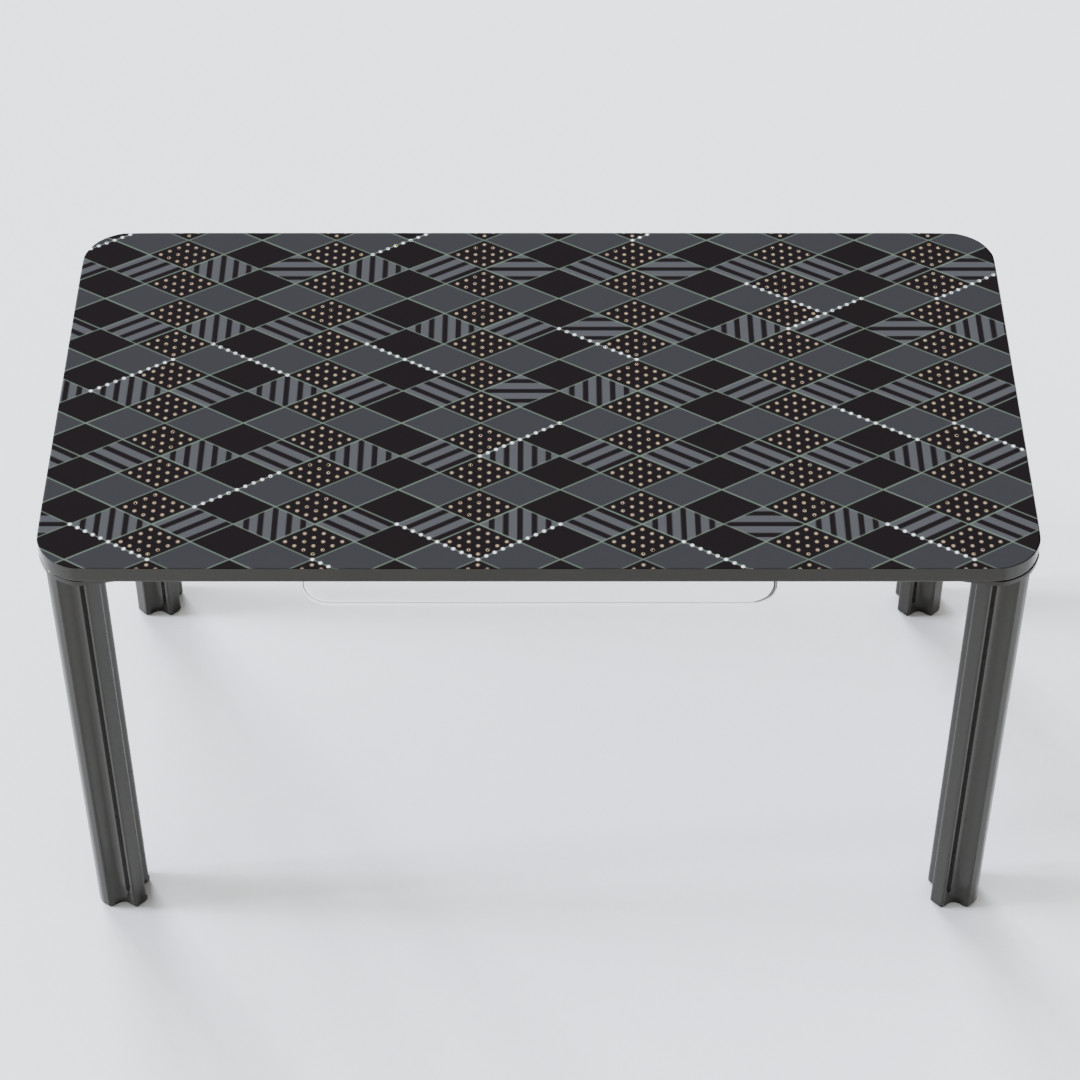 Gray rectangular desk with diamond pattern up top.