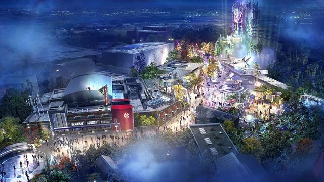 An artistic rendering of the new Marvel land at Disney California Adventures imagines vehicles, superheroes, and high-tech sites converging around the Guardians of the Galaxy tower attraction.