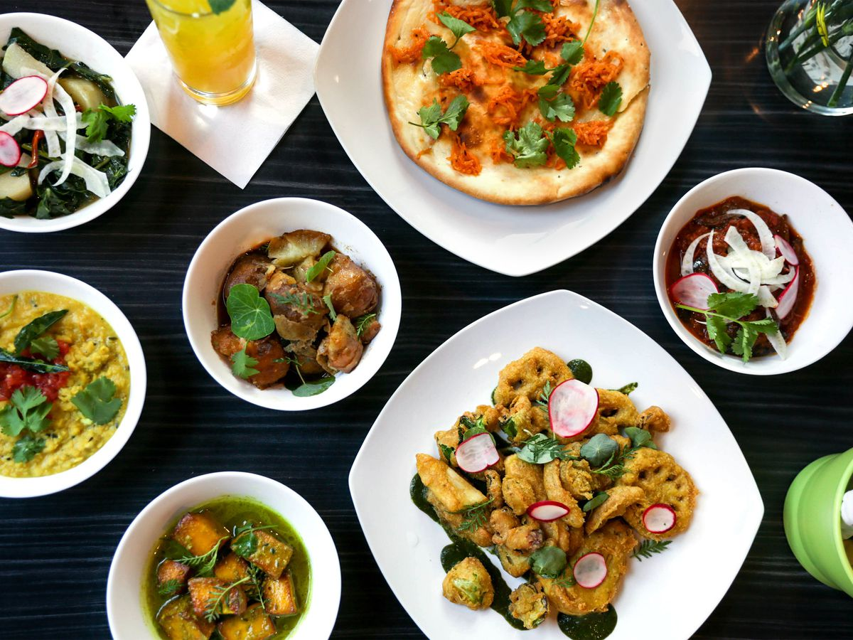 Plates of dishes at Bhuna