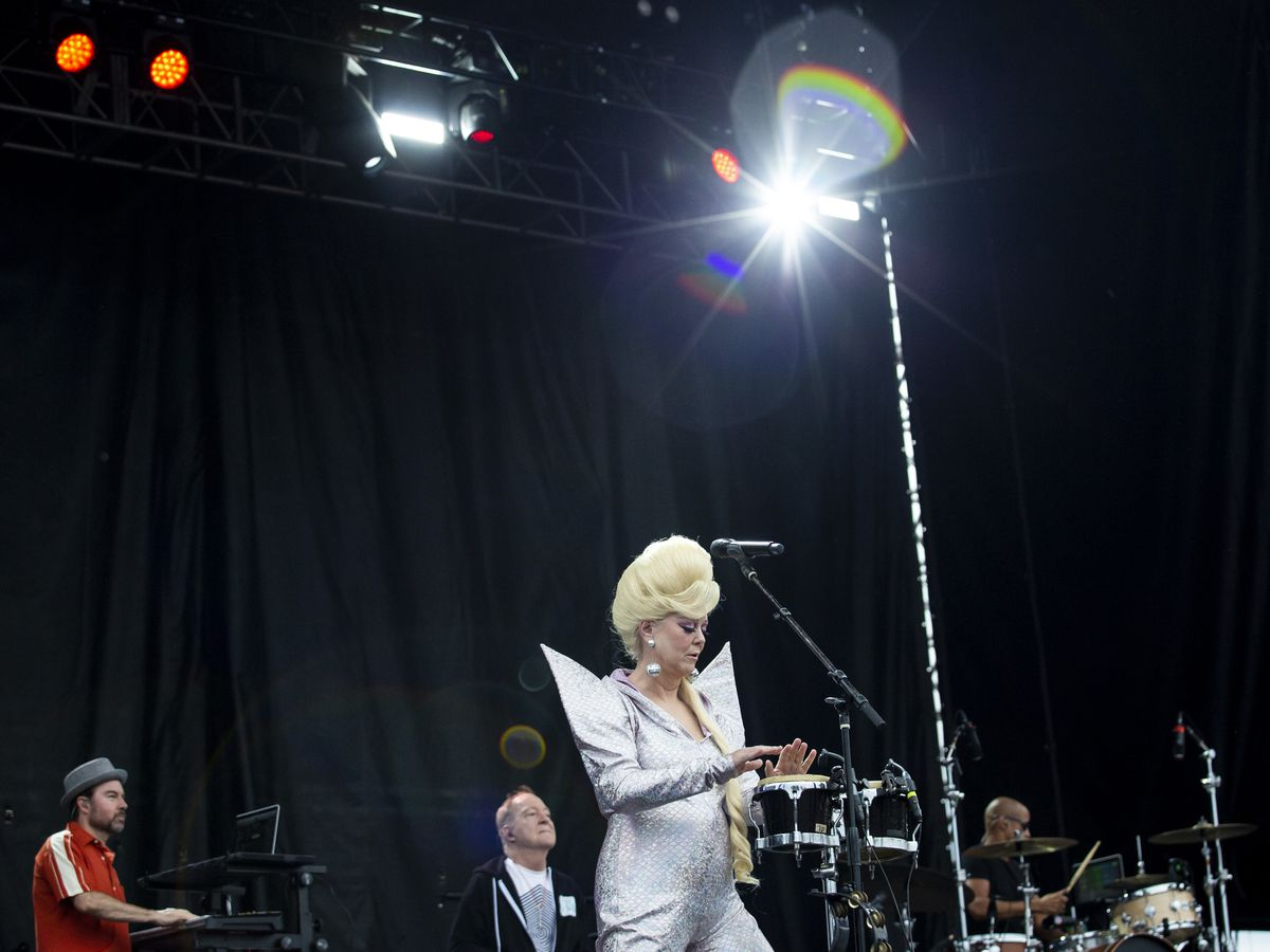 Cindy Wilson, of The B-52s, performs on day three of Riot Fest in Douglas Park, Sunday night, Sept. 15, 2019.