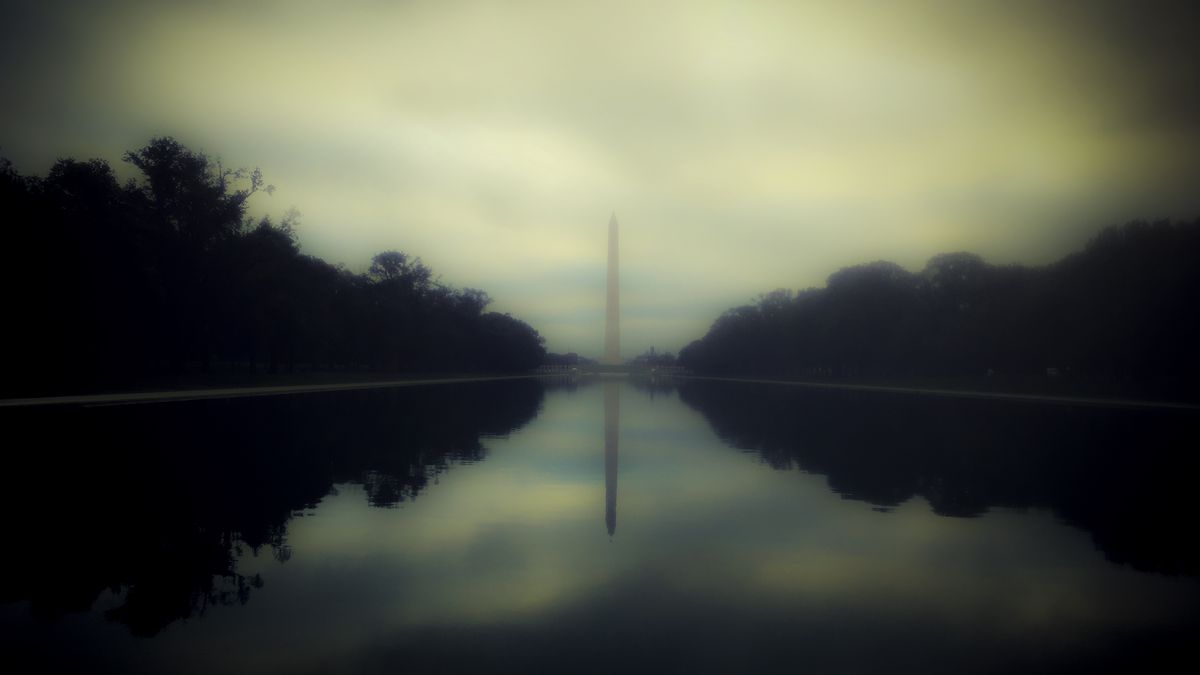The reflecting pool in front of the Washington Monument.
